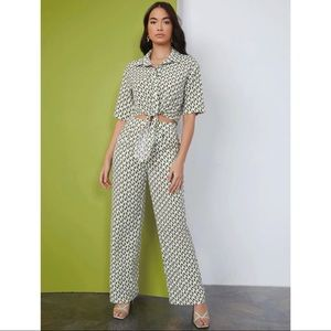 SHEIN Tie Front Geo Blouse & Pant set L NWT